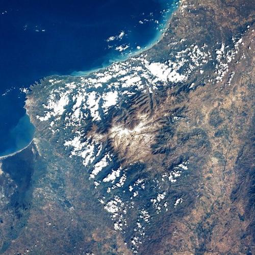 Satellite image of the Sierra Nevada region of Colombia.