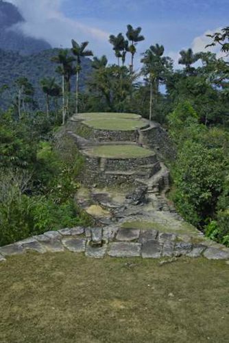 A long view of the ruins at Ciudad Perdida in Colombia.